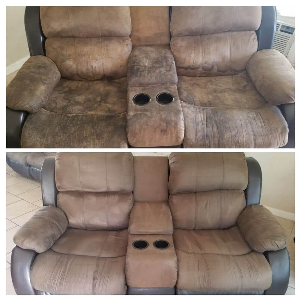 before and after upholstery cleaning long beach ca