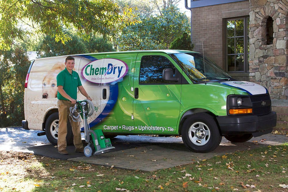 chem-dry of long beach tech in front of green cleaning van