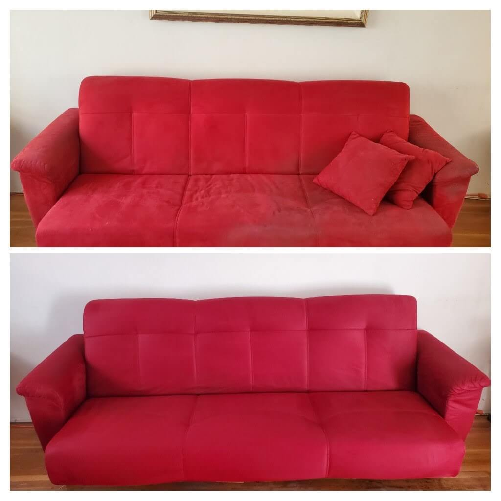 Before and after upholstery cleaning in Long Beach, CA