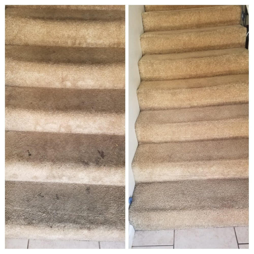 Before and after stairs carpet cleaning in Signal Hill, CA